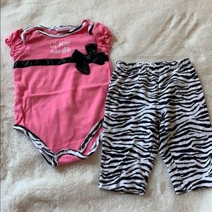 Lil' Miss Adorable pink and zebra outfit